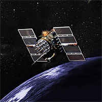 Artist's rendition of a GPS Block II / IIA satellite. Public domain image provided by the National Coordination Office for Space-Based Positioning, Navigation, and Timing and the Civil GPS Service Interface Committee.