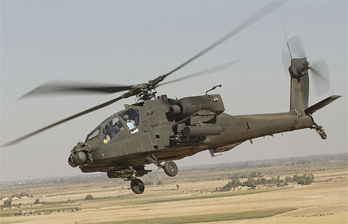 A United States Army AH-64D Apache helicopter, similar to those destroyed in a 2007 attack   said to have been enabled by geotagging information inadvertently shared online. Photo by Tech. Sgt. Andy Dunaway, courtesy of U.S. Army.