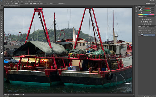 The Adobe Photoshop CS6 beta defaults to a dark color scheme, reminiscent of that in Lightroom. Screenshot copyright © 2012, Imaging Resource. All rights reserved. Click for a bigger picture!