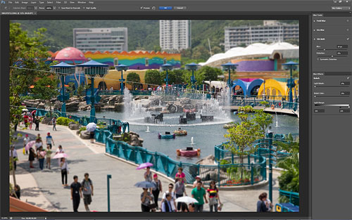 The new Blur tools make it easy to recreate a tilt-shift lens effect or add pleasing bokeh. Screenshot copyright © 2012, Imaging Resource. All rights reserved. Click for a bigger picture!