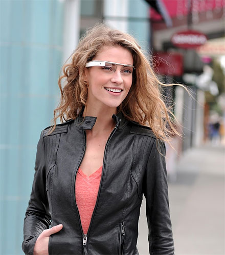 Google's Project Glass prototype, demonstrated by model Emily Photo provided by Google. Click for a bigger picture!