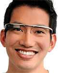 One of Google's software engineers showing off the Project Glass augmented-reality glasses. Photo provided by Google.