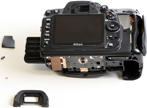 Nikon D7000 teardown. Photo copyright © 2012, Roger Cicala. Used by permission.