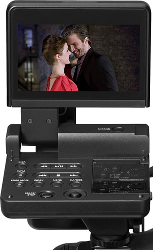 The Canon EOS C300 comes bundled with a removable control unit that includes a four-inch LCD panel. Image provided by Canon Inc. Click for a bigger picture!