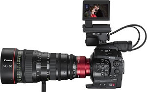 Canon's Cinema EOS-C300 video camera. Photo provided by Canon Inc. Click for a bigger picture!