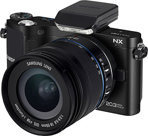 Samsung's NX210 compact system camera. Photo provided by Samsung. Click for a bigger picture!