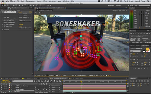 Probably the most eyecatching feature of After Effects CS6 is the 3D camera tracker. Screenshot provided by Adobe. Click for a bigger picture!