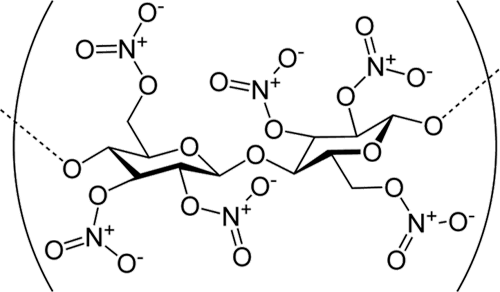 Nitrocellulose, AKA guncotton. Image courtesy Wikimedia Commons. Click for a bigger picture!