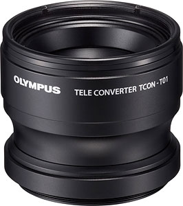 Olympus' TCON-T01 teleconverter lens. Photo provided by Olympus. Click for a bigger picture!