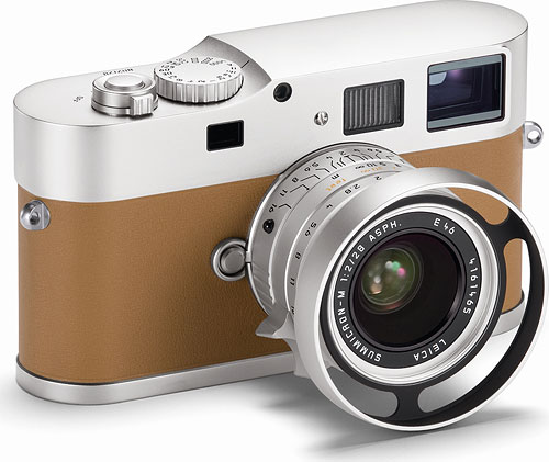 Cover your ears, animal lovers: the Leica M9-P Edition Hermès has a calfskin covering. It also lacks the hot shoe and frame selector lever of the standard M9-P. Photo provided by Leica Camera AG. Click for a bigger picture!