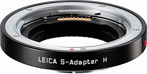 The Leica S-Adapter allows use of Hasselblad H-system lenses on the Leica S2 body. Photo provided by Leica Camera AG. Click for a bigger picture!