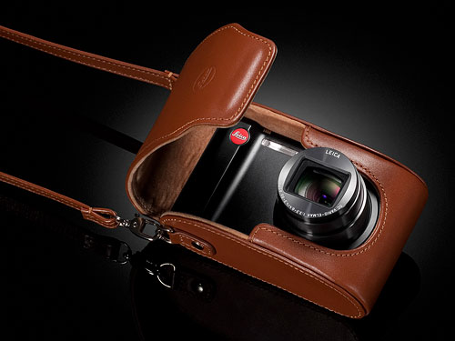 Shown here with its optional leather case, the Leica V-Lux 40 is closely related to the Lumix DC-ZS20, a Panasonic model announced last March. Photo provided by Leica Camera AG. Click for a bigger picture!