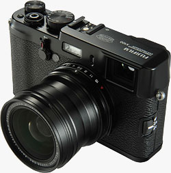 Fujifilm's WCL-X100 Wide Conversion Lens mounted on the X100 camera body. Photo provided by Fujifilm. Click for a bigger picture!