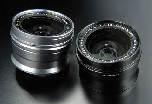 The WCL-X100 Wide Conversion Lens in both silver and black versions. Photo provided by Fujifilm Corp. Click for a bigger picture!