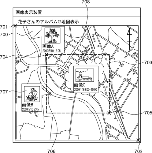 Another image from the patent, showing how a bounding box (the dashed square) could be used to provide an approximate capture location, without giving too much detail. Image provided by Japan Patent Office. Click for a bigger picture!