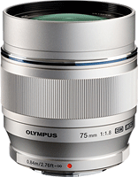 The Olympus M.ZUIKO DIGITAL ED 75mm f1.8 lens. Click here for SLRgear's Olympus M.ZUIKO DIGITAL ED 75mm f1.8 preview!