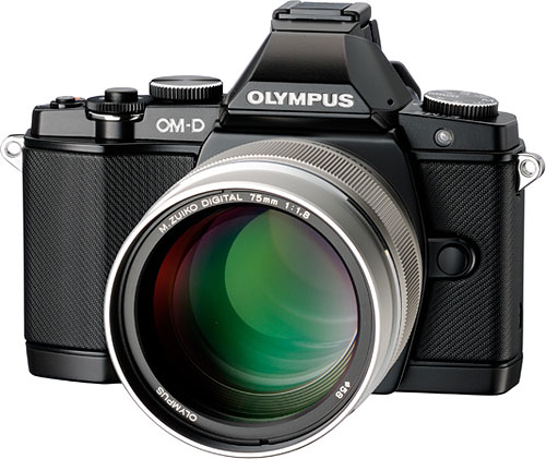 The Olympus M.ZUIKO DIGITAL ED 75mm f1.8 lens pairs nicely with the company's retro-styled OM-D E-M5 camera body. Photo provided by Olympus Corp.