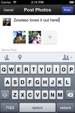 Posting photos to Facebook with the new Facebook Camera app. Screenshot provided by Facebook / iTunes.