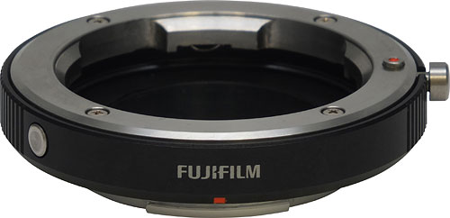 Fujifilm's M-mount adapter allows use of historic glass from Leica, Zeiss, and others on the X-Pro1 camera body. Photo provided by Fujifilm North America Corp. Click for a bigger picture!