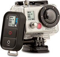 GoPro's HD Hero 2 camera with Wi-Fi BacPac and Wi-Fi Remote accessories. Photo provided by Woodman Labs.