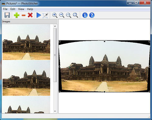 A mixed blessing: PhotoStitcher couldn't be much simpler, but lacks control over stitching. Screenshot provided by Teorex. Click for a bigger picture!