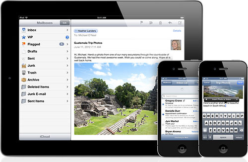 The Mail app in iOS6 has been reworked to make sharing photos and videos easier. Image provided by Apple Inc. Click for a bigger picture!