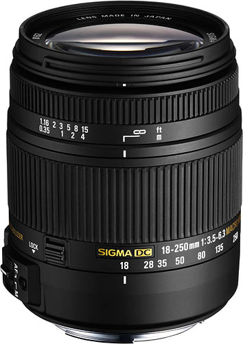 The Sigma 18-250mm F3.5-6.3 DC Macro OS HSM lens debuts a brand-new, thermally stable material said to allow a more compact design compared to standard polycarbonate. Photo provided by Sigma Corp. of America. Click for a bigger picture!