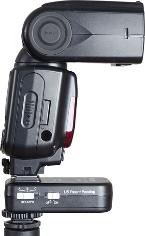Phottix's Odin TTL wireless flash strobe includes a receiver, shown under flash. Photo provided by Phottix. Click for a bigger picture!