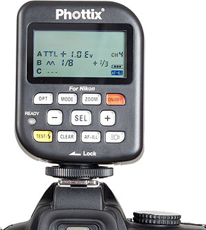 Phottix's Odin TTL wireless flash strobe includes a transmitter, shown on hotshoe. Photo provided by Phottix.  Click for a bigger picture!