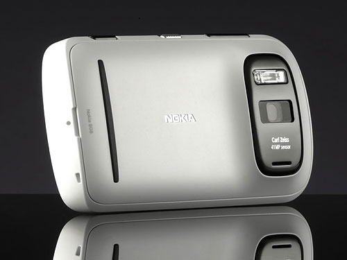 Despite a thicker than average body for a modern smartphone thanks to its large image sensor and bright lens, the Nokia 808 PureView cuts a pretty handsome figure. Photo provided by Nokia. Click for a bigger picture!