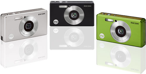 The Ricoh PX digital camera, shown in silver, black, and green variants. Photo provided by Ricoh Co. Ltd. Click for a bigger picture!