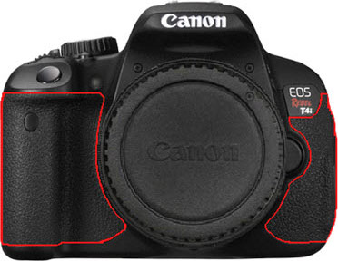 The rubber handgrips of the Canon T4i--indicated with a red line--can discolor after brief use, and potentially cause an allergic reaction in sensitive individuals. Image provided by Canon.