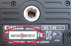 Affected Canon T4i bodies will have a number one as the sixth serial number digit. Image provided by Canon.