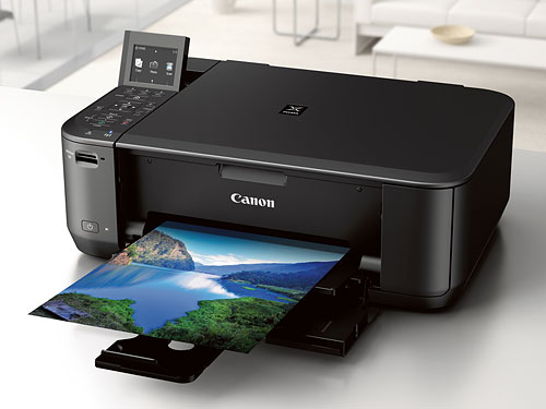The PIXMA MG4220 is the most feature-rich, with an LCD display and memory card slot. Photo provided by Canon. Click for a bigger picture!