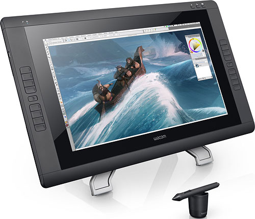 The Wacom Cintiq 22HD swaps in a wide-aspect LCD panel with better brightness and contrast ratio. Photo provided by Wacom. Click for a bigger picture!