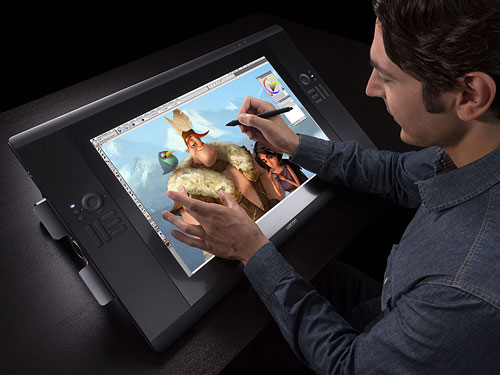The Wacom Cintiq 24HD touch adds a multitouch-sensitive overlay and uses a better display. Photo provided by Wacom. Click for a bigger picture!