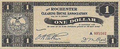 A 1933 Rochester Clearing House Association scrip note. Courtesy of DepressionScrip.com. Click to visit DepressionScrip.com!
