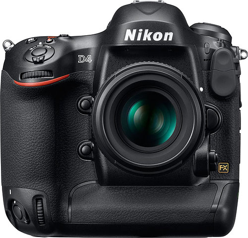 Nikon's D4 digital SLR is so far the only camera to support XQD flash cards. Photo provided by Nikon Inc. Click for a bigger picture!