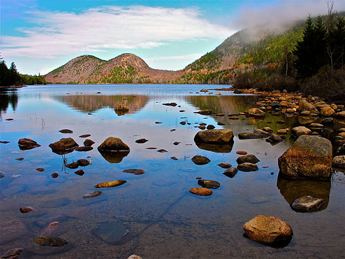 Located in the 47,000 acre Acadia National Park, Bubble Pond is just three miles from your port of call in Bar Harbor, Maine. Photo courtesy of Plh1234us / Wikimedia Commons, used under a CC-BY-SA 3.0 license. Click for a bigger picture!