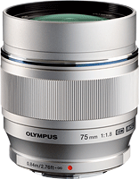 Olympus' M.Zuiko Digital ED 75mm f/1.8 lens. Photo provided by Olympus. Click for the full review on SLRgear.com!