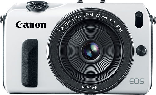 The EOS M body will be available in white, but only from Canon's own web store. Photo provided by Canon. Click for a bigger picture!