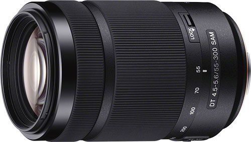 The Sony DT 55-300mm F4.5-5.6 SAM lens. Photo provided by Sony. Click for a bigger picture!
