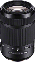 The Sony DT 55-300mm F4.5-5.6 SAM lens. Photo provided by Sony.
