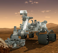 A closeup rendering of Curiosity at work. Rendering provided by NASA/JPL-Caltech.