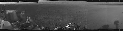 Curiosity has already provided its first 360-degree panorama, but only two images are in high resolution thus far, so it's a bit blurry at the ends. Photo provided by NASA/JPL-Caltech. Click for a bigger picture!