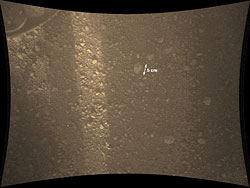 MARDI now sits 1.7 meters above the martian surface. Photo provided by NASA/JPL-Caltech. Click for a bigger picture!