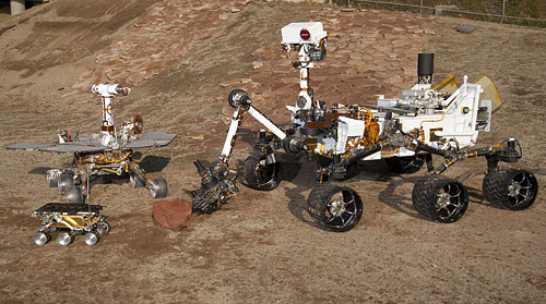 The latest generation rover is a lot larger than its predecessors, as demonstrated by this family photo on the JPL's Mars Yard test area. In the left foreground is the flight spare for the first Mars rover, Sojourner (1997). Behind is a Mars Exploration Rover Project test rover, similar to Spirit and Opportunity (2004). At right is a Mars Science Laboratory test rover similar to the current Curiosity. Photo provided by NASA/JPL-Caltech. Click for a bigger picture!