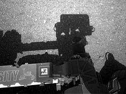 The first image taken by Curiosity's navigation cameras. Photo provided by NASA/JPL-Caltech. Click for a bigger picture!