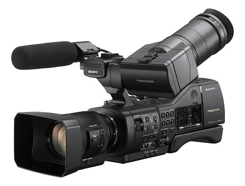 The Sony NEX-EA50UH camcorder ships with a new power-zoom lens. Photo provided by Sony Electronics Inc. Click for a bigger picture!