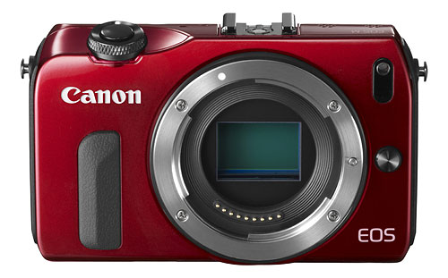 In some markets, the Canon EOS M is available in red. Photo provided by Canon.